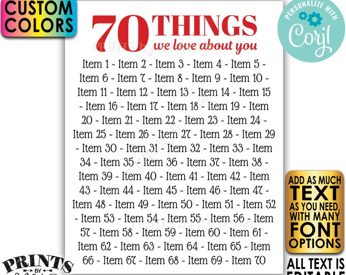"Things You Love about the Birthday Boy/Girl, 70th Bday or Anniversary, Editable PRINTABLE 8x10/16x20"" Sign <Edit Yourself w/Corjl>"