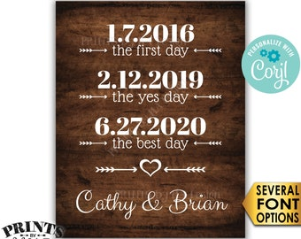 """Important Dates, First Best Yes Days, Custom PRINTABLE 8x10/16x20"""" Rustic Wood Style Wedding Sign <Edit Yourself with Corjl>"""