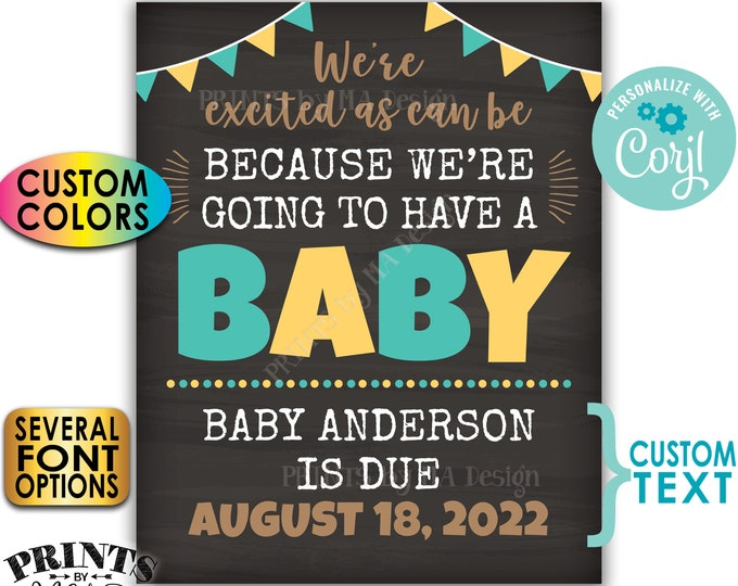 Excited as Can Be We're Going to Have a Baby Pregnancy Announcement, PRINTABLE Chalkboard Style Baby Reveal Sign <Edit Yourself with Corjl>