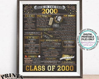 """Back in 2000 Poster Board, Class of 2000 Reunion Decoration, Flashback to 2000 Graduating Class, PRINTABLE 16x20"""" Sign <ID>"""