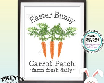 """Easter Bunny Carrot Patch Sign, Carrot Easter Decor, Cute Easter Decoration, Carrot Illustration, PRINTABLE 8x10"""" Easter Sign <ID>"""