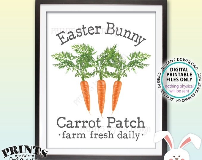 "Easter Bunny Carrot Patch Sign, Carrot Easter Decor, Cute Easter Decoration, Carrot Illustration, PRINTABLE 8x10"" Easter Sign <ID>"