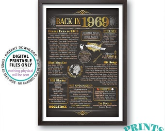"1969 Flashback Poster, Flashback to 1969 USA History Back in 1969 Birthday Anniversary Reunion, Chalkboard Style PRINTABLE 24x36"" Sign <ID>"