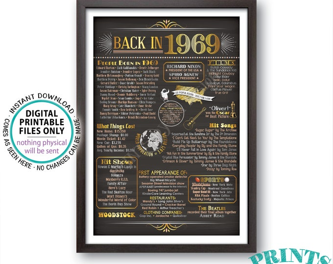"Back in 1969 Poster Board, Remember 1969 Flashback Birthday Anniversary Reunion, USA History, PRINTABLE 24x36"" Sign <ID>"