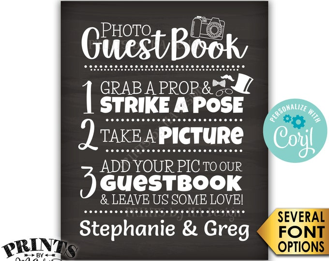 "Wedding Photo Guestbook Sign, Add your photo & Leave Us Some Love, PRINTABLE Chalkboard Style 8x10""/16x20"" Sign <Edit Yourself with Corjl>"