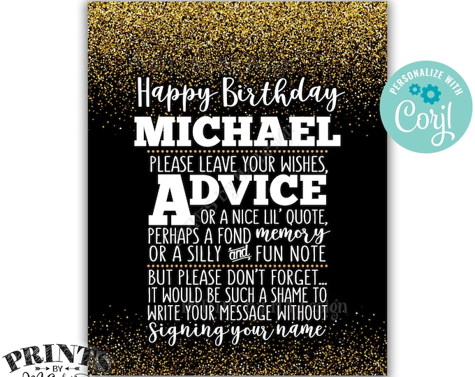 "Please Leave Your Advice Wish Memory Message, Birthday Party PRINTABLE 8x10"" Black & Gold Glitter B-day Sign <Edit Yourself with Corjl>"