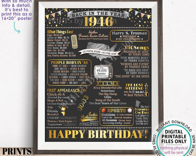 """Back in the Year 1946 Birthday Sign, Flashback to 1946 Poster Board, '46 B-day Gift, Bday Decoration, PRINTABLE 16x20"""" Sign <ID>"""