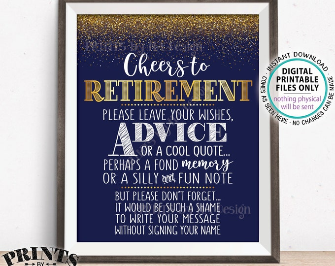 "Cheers to Retirement Party Sign, Leave Your Wish Advice Memory for the Retiree Celebration, PRINTABLE 8x10/16x20"" Navy Blue & Gold Sign <ID>"