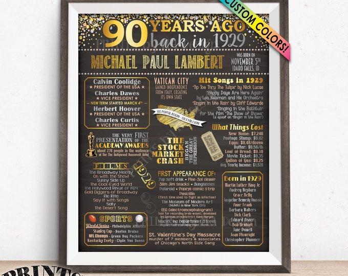 "90th Birthday Gift 1929 Birthday Poster, Flashback 90 Years Ago Back in 1929, Custom PRINTABLE 16x20"" 1929 Bday Poster"