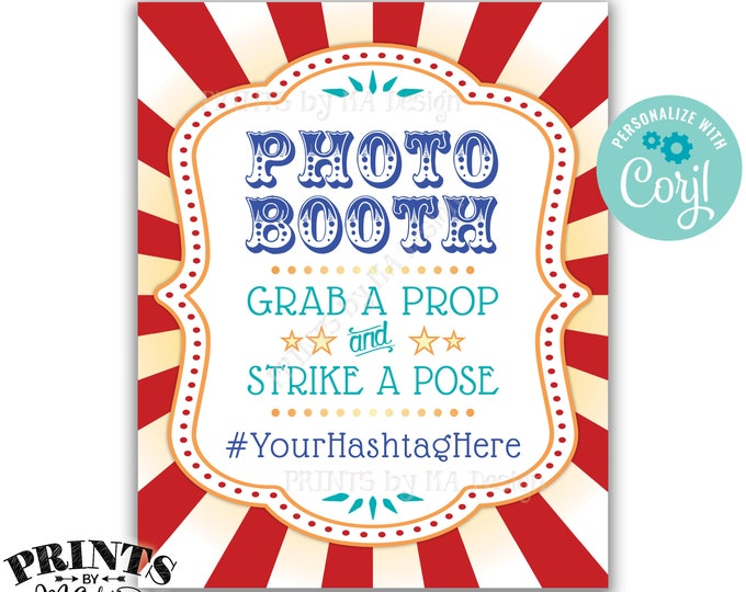 "Carnival Photobooth Sign, Grab a Prop & Strike a Pose Circus Theme Party, PRINTABLE 8x10/16x20"" Hashtag Sign <Edit Yourself with Corjl>"