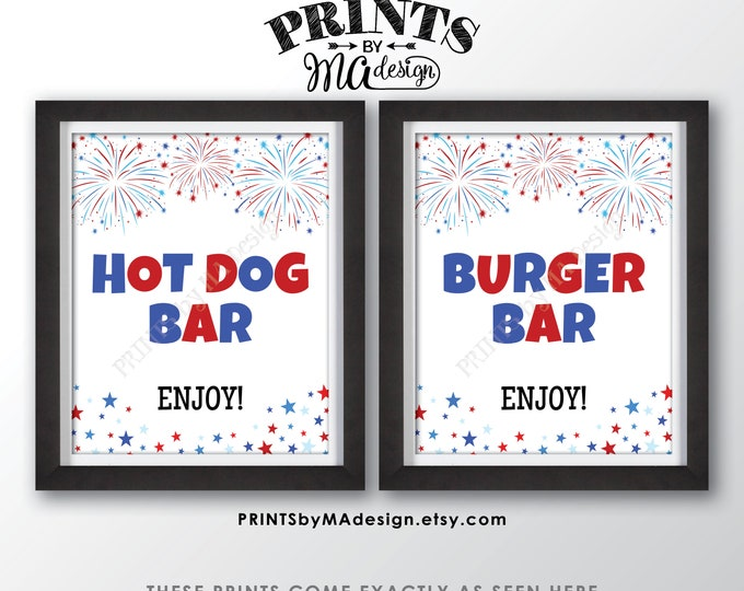 "Burger Bar & Hot Dog Bar Signs, 4th of July Patriotic Party Memorial Day BBQ Food, Fireworks, Two PRINTABLE 8x10/16x20"" Signs <ID>"
