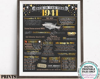 """Back in the Year 1941 Poster Board, Remember 1941 Sign, Flashback to 1941 USA History from 1941, PRINTABLE 16x20"""" Sign <ID>"""
