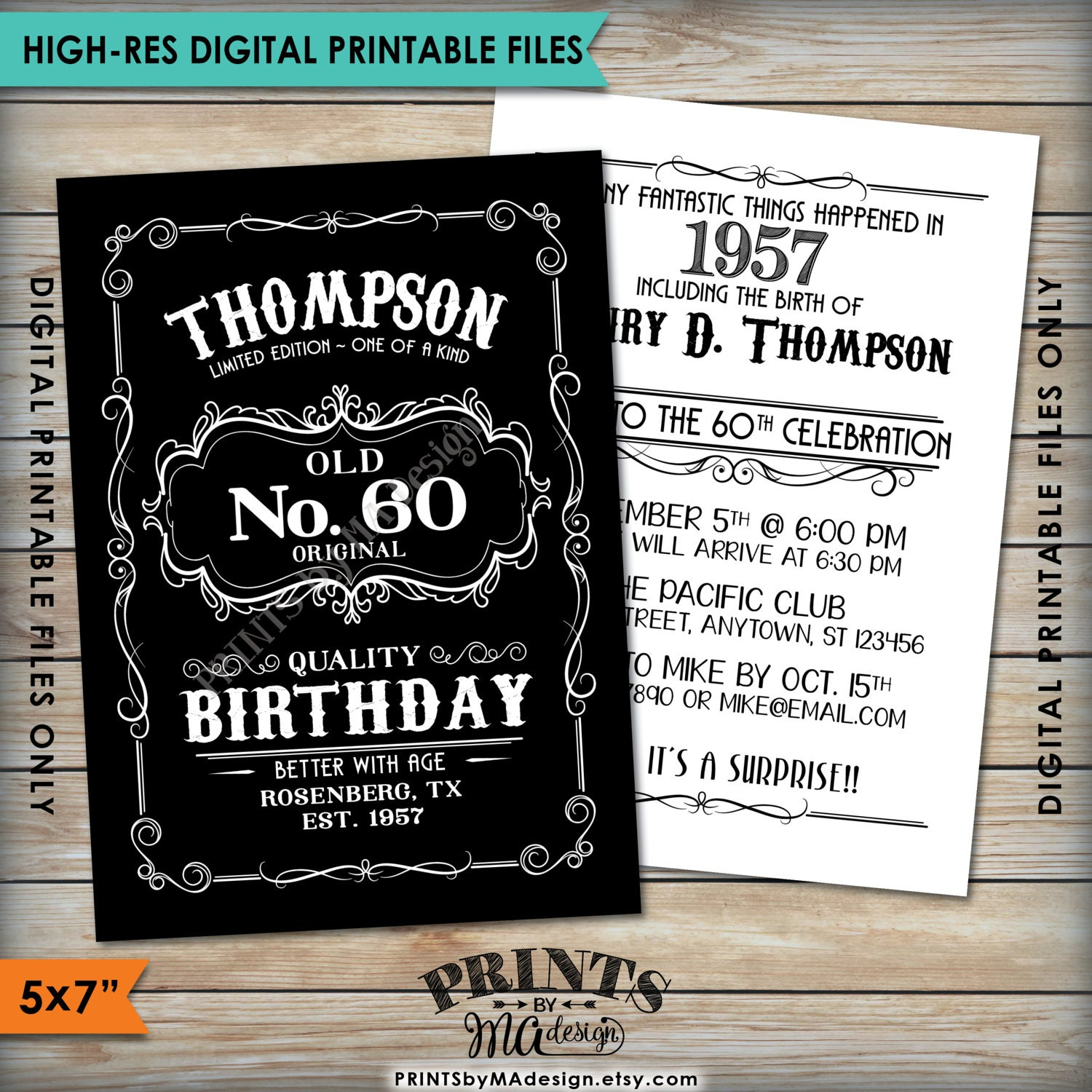 Vintage Birthday Invitation Aged To Perfection Alcohol Theme