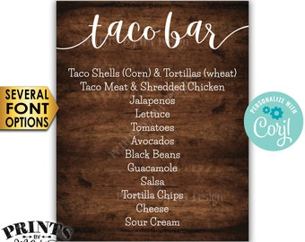 "Taco Bar Menu Sign, Fiesta Party Menu, Custom PRINTABLE 8x10/16x20"" Rustic Wood Style Sign <Edit Yourself with Corjl>"