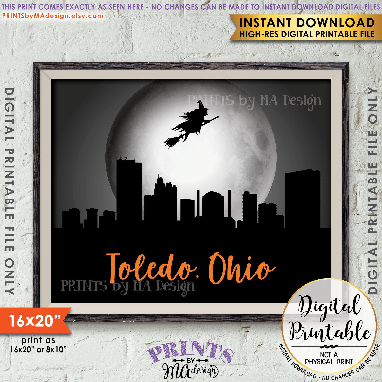 toledo ohio skyline, witch flying over toledo oh, witch wall art