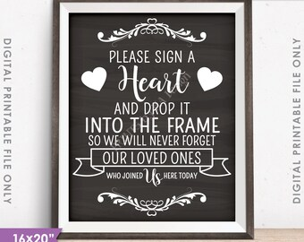 """Guestbook Hearts Sign, Sign a Heart, Guest Book Alternative, Wooden Hearts Sign, 16x20"""" or 8x10"""" Instant Download Digital Printable File"""