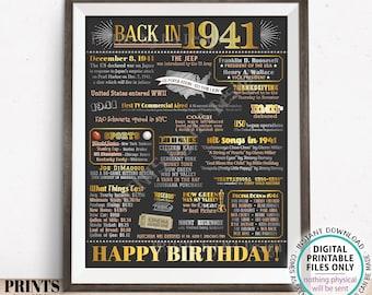 "Back in 1941 Birthday Poster Board, Flashback to 1941 Birthday Decoration, '41 B-day Gift, PRINTABLE 16x20"" Sign, Birthday Decor <ID>"