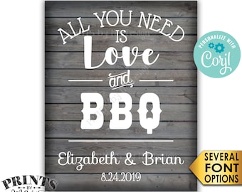"""All You Need is Love and BBQ Sign, Wedding Back Yard Engagement, PRINTABLE 8x10/16x20"""" Rustic Wood Style Sign <Edit Yourself with Corjl>"""