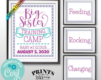 """Big Sister Training Camp Pregnancy Announcement, Baby #2, Set of Four PRINTABLE 8x10/16x20"""" Signs <Edit Yourself with Corjl>"""
