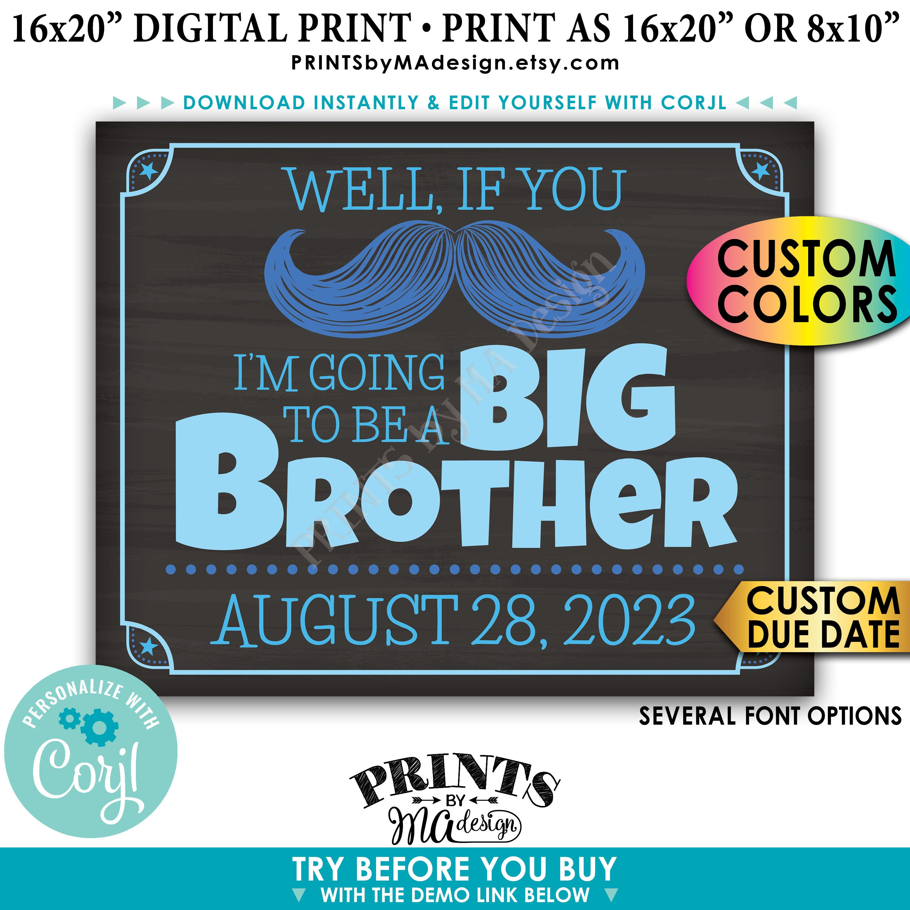 Pregnancy Announcement If You Mustache I M Going To Be A Big Brother Custom Printable Chalkboard Style Sign