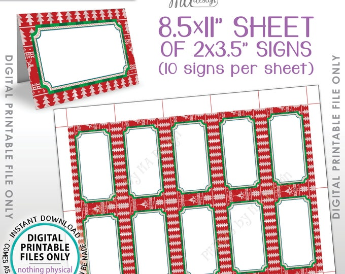 """Ugly Sweater Party Labels, Ugly Christmas Sweater Party Table Tent Tacky Sweater Food Labels PRINTABLE 8.5x11"""" Instant Download Buffet Cards"""