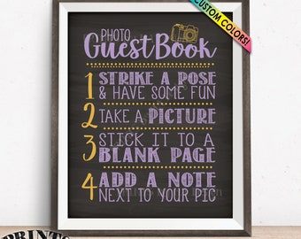 """Photo Guestbook Sign, Scrapbook, Memory Book, Graduation Party, Sweet 16 Birthday, Photo Booth, PRINTABLE 8x10/16x20"""" Chalkboard Style Sign"""
