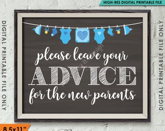 """Advice for the New Parents, Baby Advice Tips Baby Shower Sign Shower Decor, BLUE Instant Download 8.5x11"""" Chalkboard Style Printable Sign"""