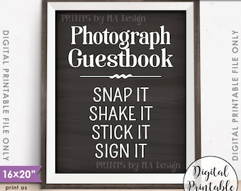 """Photograph Guestbook Sign, Photo Guestbook Photo Sign Wedding Birthday Graduation, Chalkboard Style PRINTABLE 8x10/16x20"""" Instant Download"""