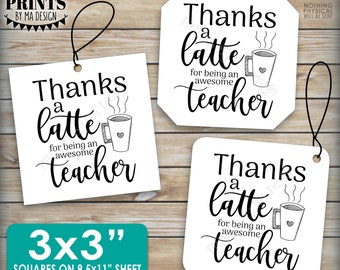 "Thanks a Latte, Gift Card Holder, Teacher Gift, Teacher Appreciation, Coffee Mug, 3x3"" Square Thank You Cards, PRINTABLE 8.5x11"" sheet <ID>"