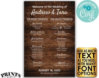 """Welcome to our Wedding Sign, Custom PRINTABLE 24x36"""" Rustic Wood Style Wedding Bridal Party Welcome Sign <Edit Yourself with Corjl>"""