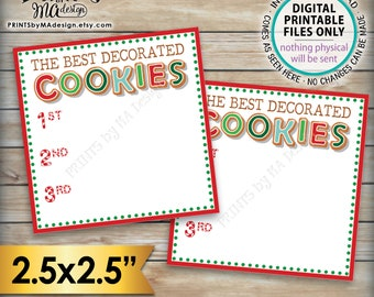 """Vote for the Best Decorated Cookie, Christmas Cookies Baking Party, Holiday Cookie Voting Station, PRINTABLE Cookie Voting 2.5"""" Ballots <ID>"""