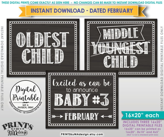 3rd Baby Pregnancy Announcement, Oldest Middle Youngest, Baby #3 due FEBRUARY Dated Chalkboard Style PRINTABLE Pregnancy Reveal Signs <ID>