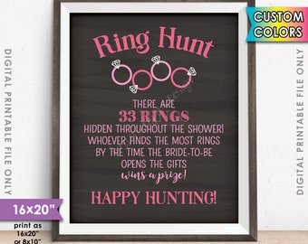 """Ring Hunt Bridal Shower Game Sign, Ring Scavenger Hunt Game for Wedding Shower, Ring Hunt Game, Chalkboard Style PRINTABLE 8x10/16x20"""" Sign"""