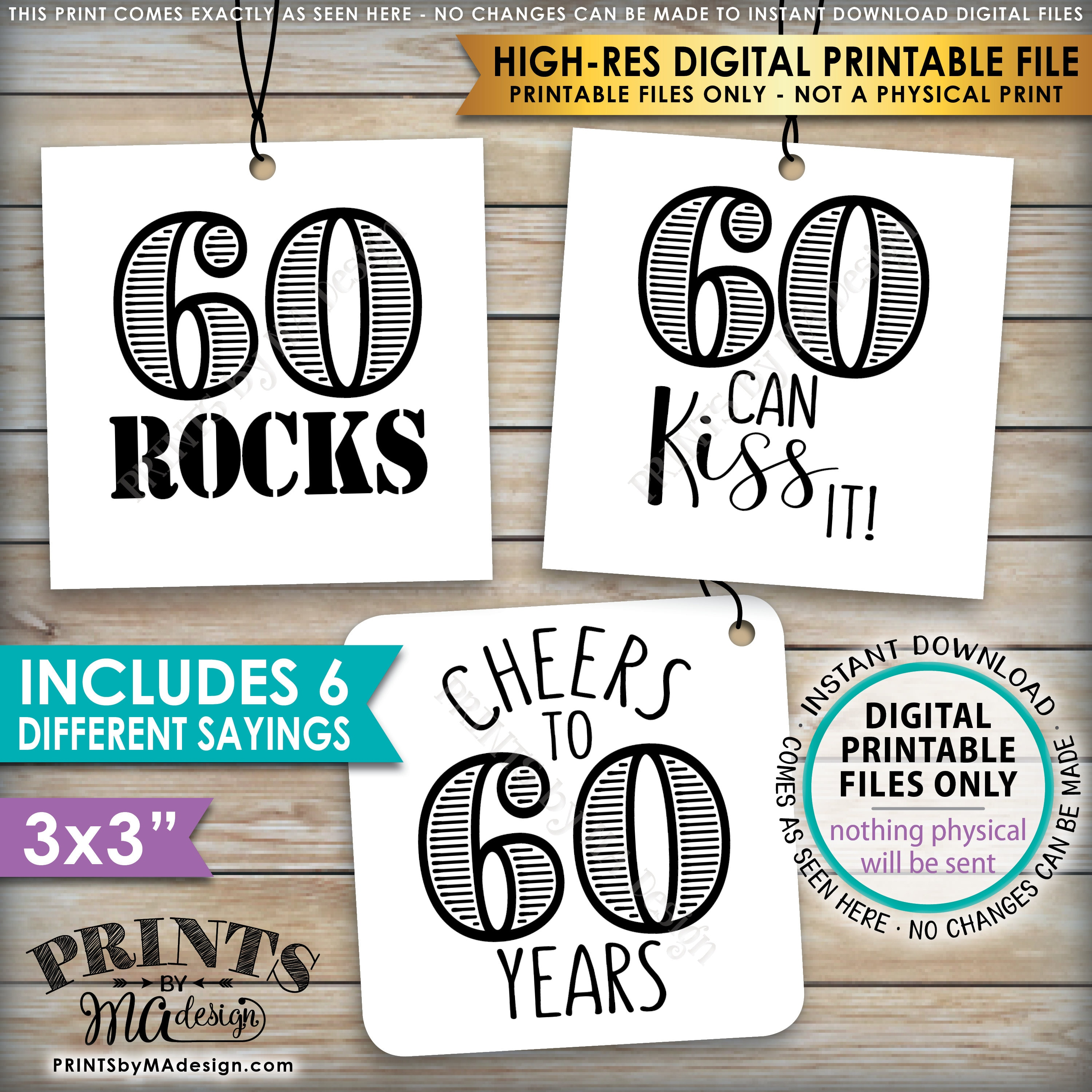 "60th Birthday Party Candy Signs, Candy Bar, 60 Sucks Blows Rocks Hot, 60  can Kiss it, PRINTABLE Square 3x3"" tags on 8.5x11"" Instant Download"