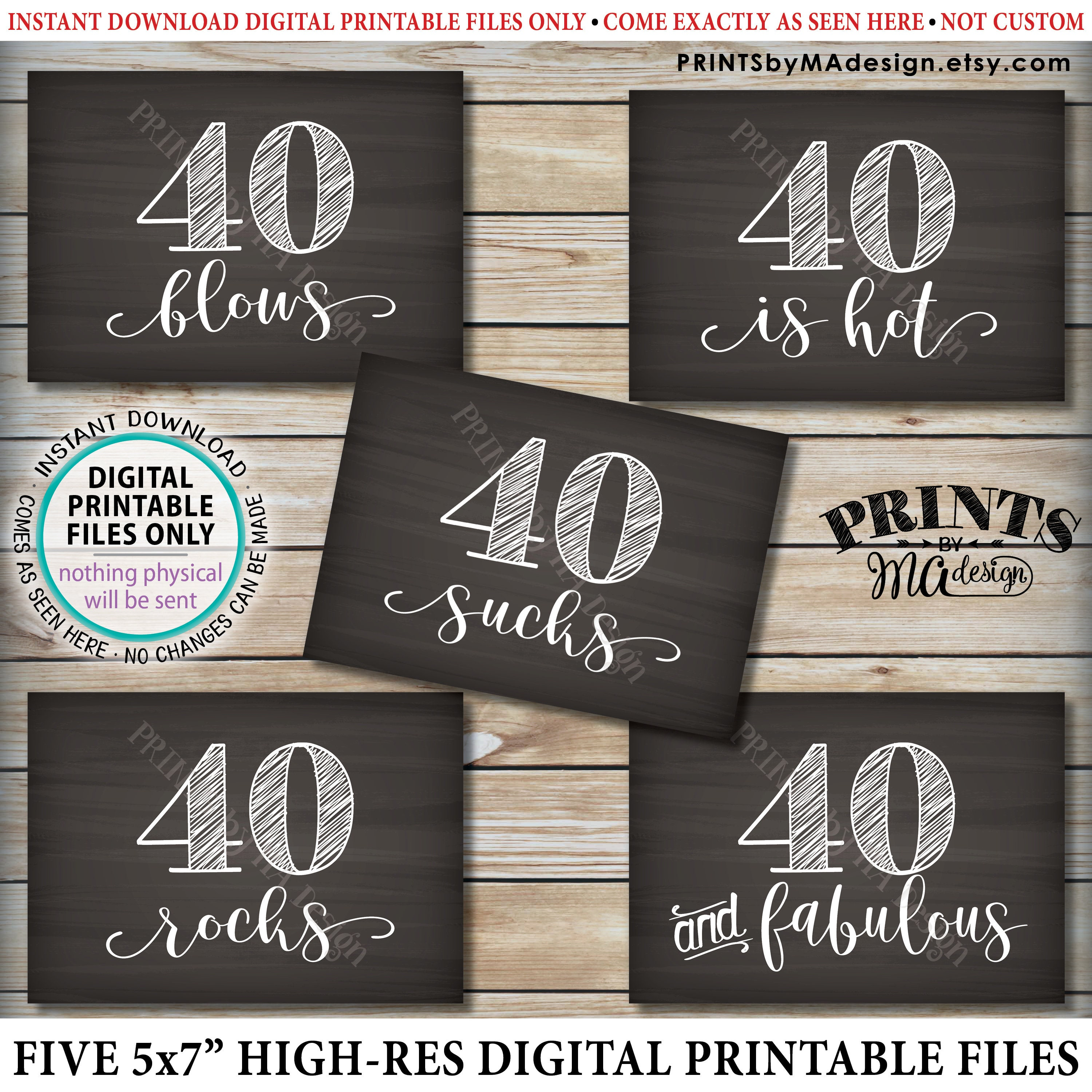 photo regarding 40th Birthday Signs Printable named 40th Birthday Signs and symptoms, 40 Sucks, Rocks, Blows, Magnificent, is Scorching