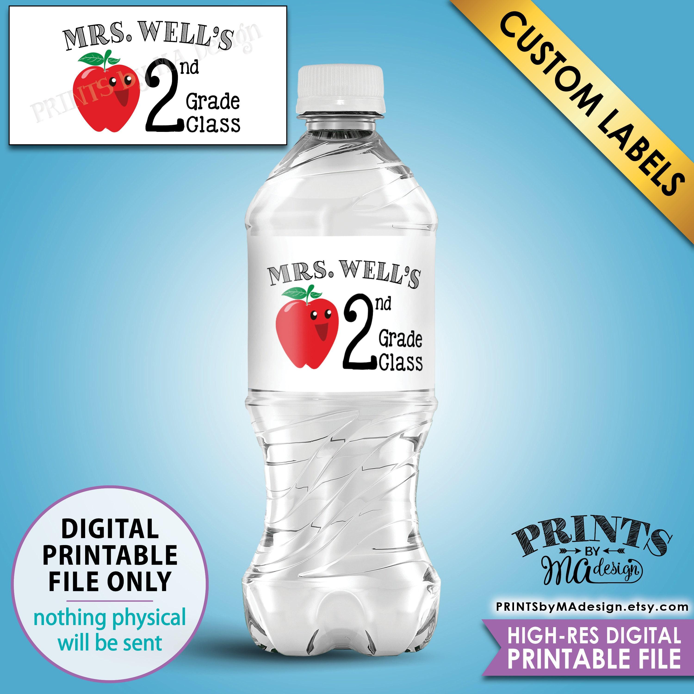 Teacher Water Bottle Labels, Custom Teacher Labels, Class Water ...
