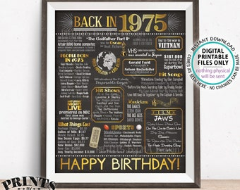"""1975 Birthday Flashback Poster, Back in 1975 Birthday Decorations, '75 B-day Gift, PRINTABLE 16x20"""" B-day Sign <ID>"""