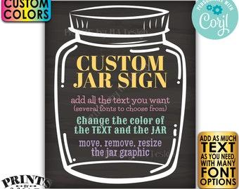 "Custom Jar Sign, Editable Jar Sign, One PRINTABLE 8x10/16x20"" Chalkboard Style Portrait Sign, Custom Text & Colors <Edit Yourself w/Corjl>"