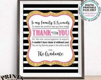 "Thank You Sign, Graduation Party Decoration, Thanks from the Graduate Thank You Sign, PRINTABLE 8x10"" Black/Pink/Gold Glitter Grad Sign <ID>"
