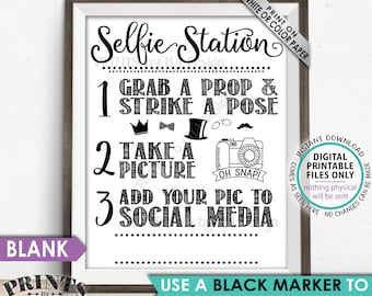 """Selfie Station Sign, Share your pic on Social Media, Snap a Photo and Tag It, Take a Selfie Sign, PRINTABLE 8x10/16x20"""" Hashtag Sign <ID>"""