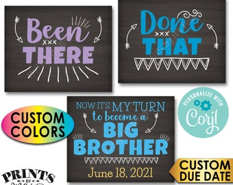Pregnancy Announcement, Been There Done That It's My Turn to Become a Big Brother, PRINTABLE Baby #4 Reveal Signs <Edit Yourself with Corjl>