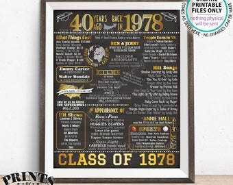 """40 Year Reunion Class of 1978 Reunion Back in 1978 Flashback to 1978 40 Years Ago, Gold, PRINTABLE 8x10/16x20"""" Chalkboard Style Sign <ID>"""