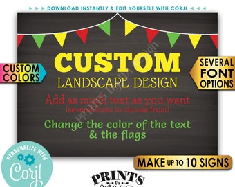 """Custom Signs with Flags, Choose Your Text & Colors, Up to 10 PRINTABLE 5x7"""" Chalkboard Style Landscape Signs <Edit Yourself with Corjl>"""