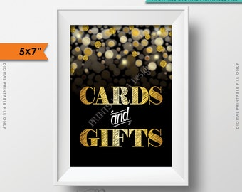 """Cards and Gifts Sign, Cards & Gifts Sign, Birthday, Anniversary, Retirement, Graduation, Black and Gold Glitter PRINTABLE 5x7"""" Sign <ID>"""