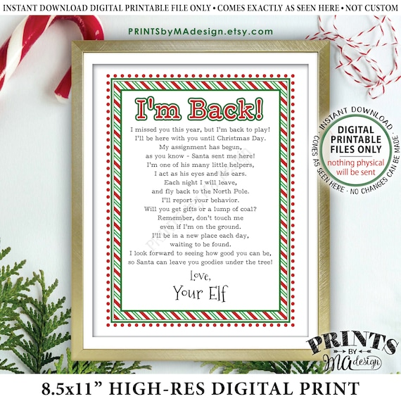 Welcome Back Letter To Kids From Their Christmas Elf Hello Letter I M Back Elf Has Returned Printable 8 5x11 Elf Sign