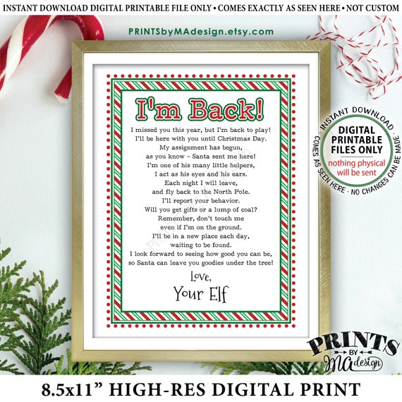 Welcome Back Letter to Kids from their Christmas Elf Hello