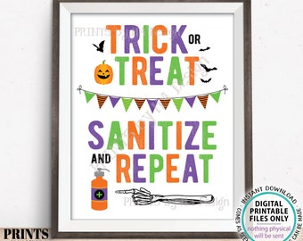 """Trick or Treat Sanitize and Repeat Sign, Trick-Or-Treat Table, Halloween Candy, Sanitizing Station, PRINTABLE 8.5x11"""" Halloween Sign <ID>"""