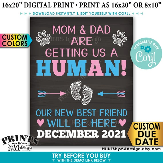 Pets Pregnancy Announcement PRINTABLE Rustic Wood Style Sign Mom and Dad are Getting Us a Human Dogs or Cats