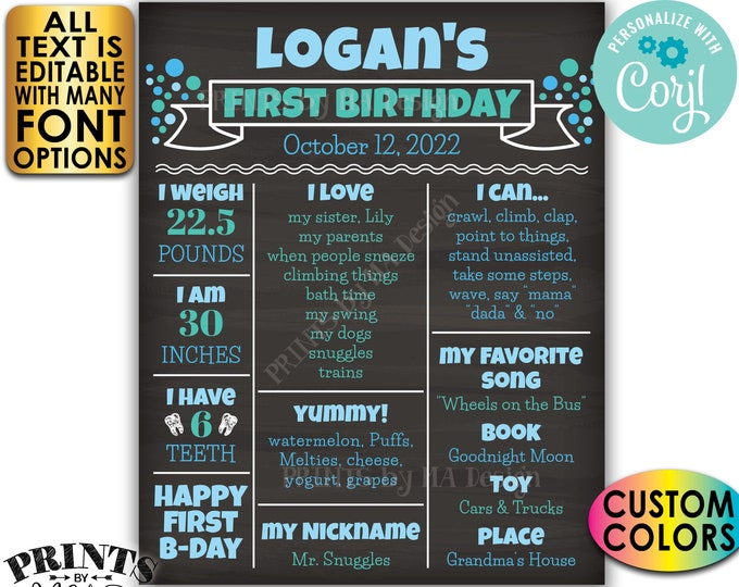 First Birthday Poster, 1st Bday Personalized Milestones Board, Yearly Stats, Custom PRINTABLE Chalkboard Style Sign <Edit Yourself w/Corjl>