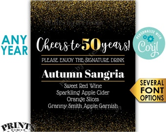 """Signature Drink Sign, Cheers to Years, Any Number, PRINTABLE 8x10/16x20"""" Black & Gold Glitter Bar Decoration <Edit Yourself with Corjl>"""